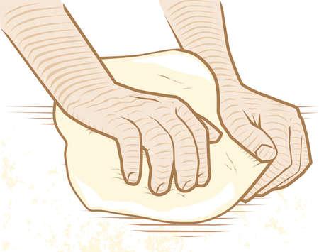 kneading: Kneading Dough Illustration