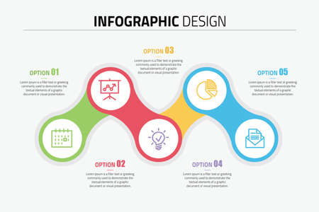 Process infographics design diagram with 5 options, vector illustration. Illustration