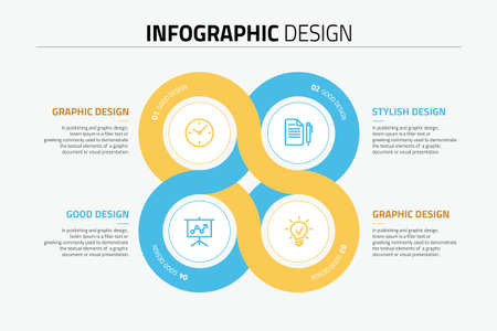 Sphere infographics design diagram with 4 options, vector illustration.