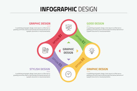 Connection infographics design diagram with 4 options, vector illustration.