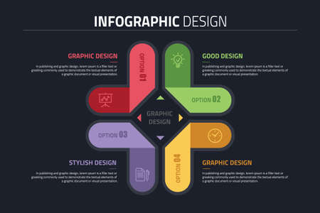 PPT infographics design diagram with 4 option, vector illustration. Stok Fotoğraf - 91665703