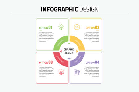 Infographics template four options vector  イラスト・ベクター素材