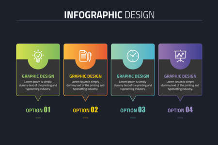 Infographics template four options with square.