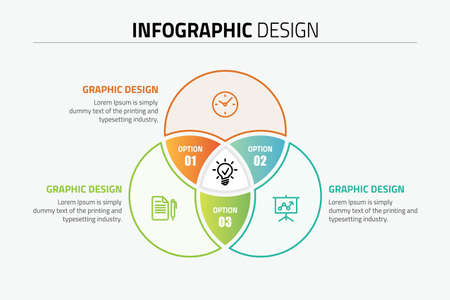 Venn diagram circles info-graphics template design illustration. 일러스트