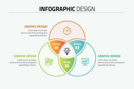 Venn diagram circles info-graphics template design illustration. Иллюстрация