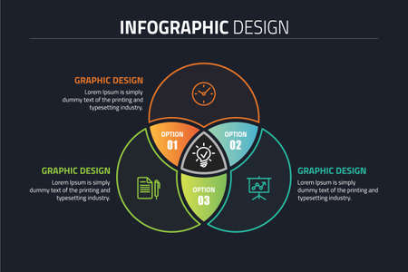 Venn diagram circles info-graphics template design illustration.