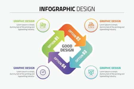 Inforgraphic design presentation slide template Stock Illustratie