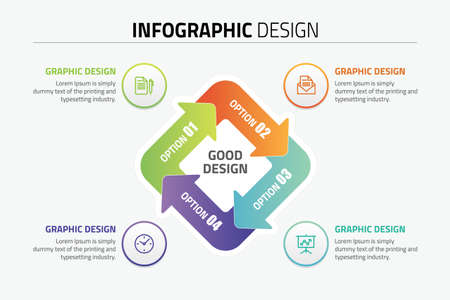 Inforgraphic design presentation slide template Vettoriali