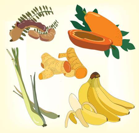 éléments de fruits, d'herbes