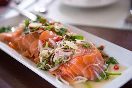 thai style: Salmon salad in thai style