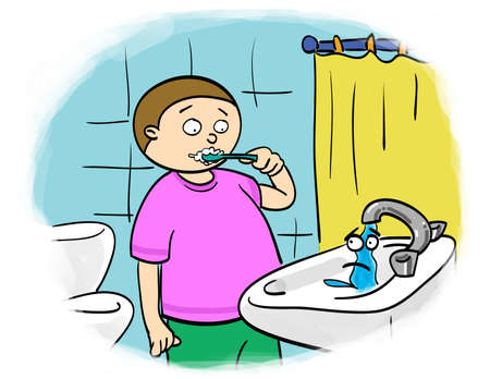 child brushes their teeth, shut off the tap photo