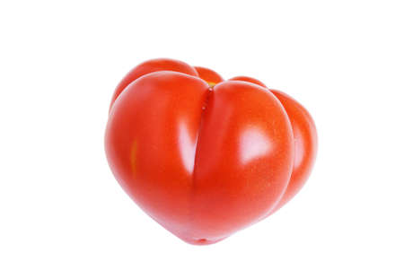 dieta: Red tomato is on the white background