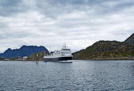 The ferry in a fjord of Norway