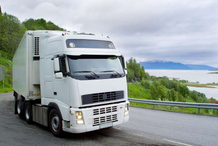 The truck on the Norwegian mountain road