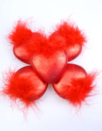 D�corations de No�l-arbre - coeurs rouges cinq Banque d'images