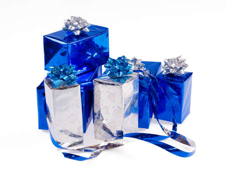 Many blue shiny boxes for gifts with ribbons