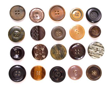 coser: colecci�n de varios de costura de bot�n, sobre fondo blanco Foto de archivo