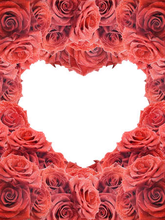 Valentines card with red roses Stock Photo