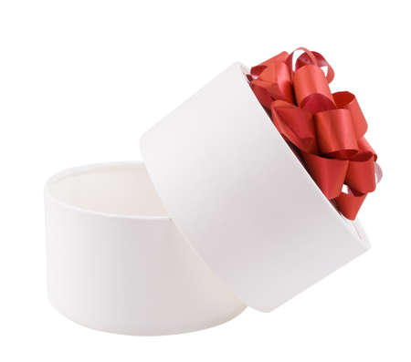 Open round white gift box with a red bow
