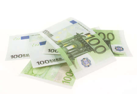 Banknote of hundred euros isolated on white background