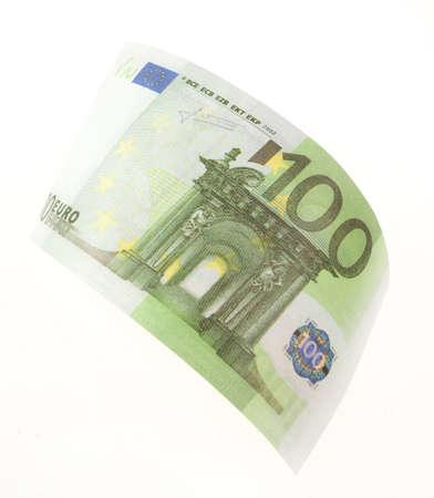 Bill hundred euros isolated on white background