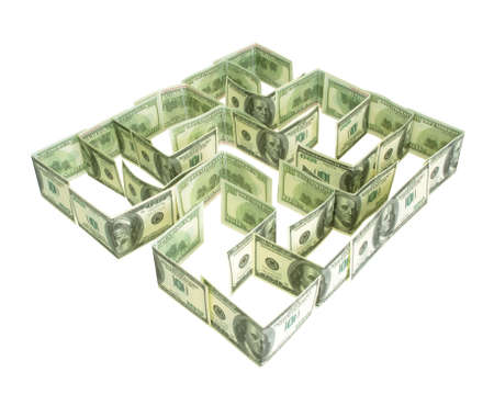 Dollars labyrinth isolated on the white photo