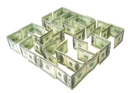 Labyrinthe de dollars vert isol� sur le blanc