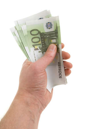 Hand with banknotes of one hundred euros Stock Photo