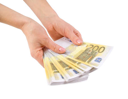 Hands with a bundle of banknotes two hundred euros photo