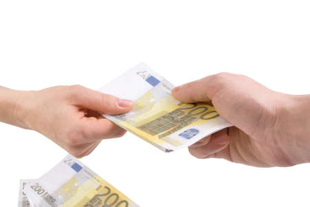 Hands with banknotes two hundred euros Stock Photo