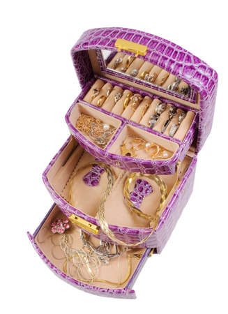 Lilac box with golden jewelry photo