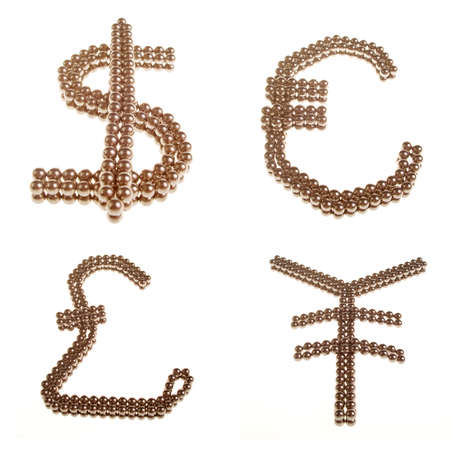 Symbols of the four major world currencies Stock Photo