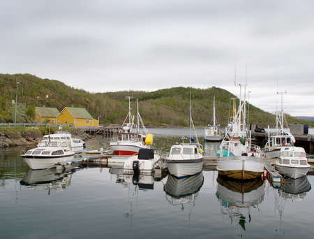 Parking of motor boats in the Norwegian Sea photo