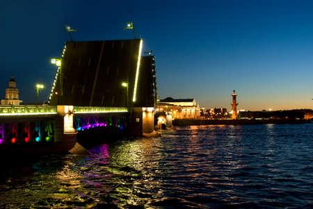 Swing bridge in St. Petersburg. photo