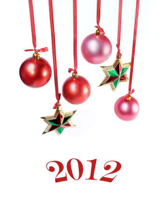 Christmas card with stars and red spheres  Stock Photo