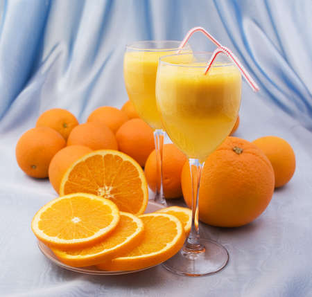 Crystal glasses of fresh orange juice Stock Photo - 13106280