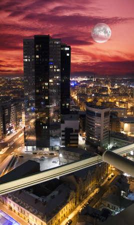 Vue de nuit de Tallinn � partir du haut Banque d'images