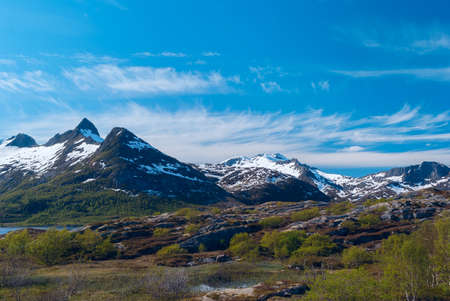 High mountain pass in Norway. Sunny summer day.