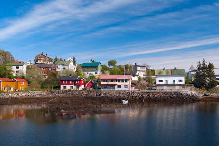 Village on the norwegian island in sunny day Stock Photo