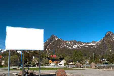 stone cutter: Big white bilboard on the norwegian road in sunny day