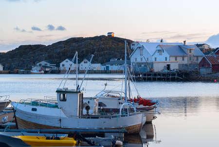 shallop: Fishermen boats near the pier at Lofoten islands