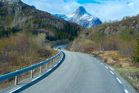 clambering: Asphalt road in Norvegian mountains Stock Photo