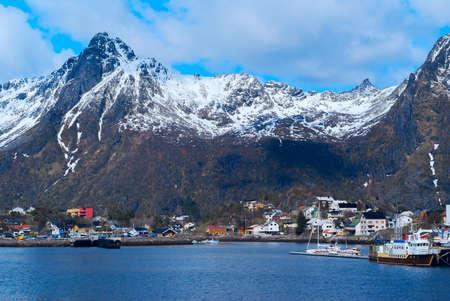 Town Svolvaer on Lofoten islands in Norway