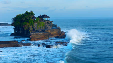 tranquil: Temple Tanah Lot on south coast of island Bali in Indonesia Stock Photo