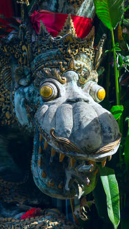 close uo: Close uo of Chinese Dragon at the entrance to a temple in Bali, Indonesia