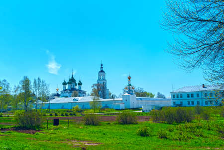 green cross: White Monastery near Yaroslavl in the spring sunny day Stock Photo