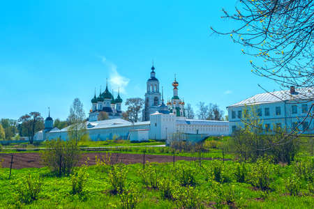 green cross: White Monastery near Yaroslavl in the spring day