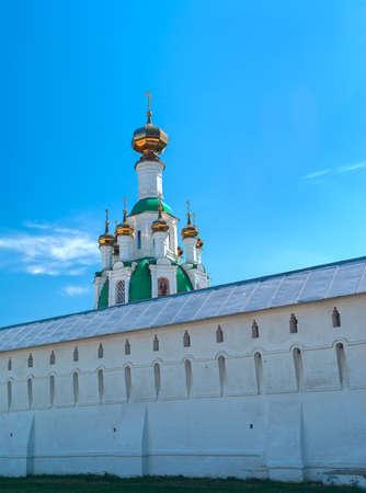 White  Ortodox monastery near Yaroslavl in sunny spring day