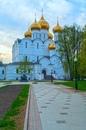 yaroslavl: Ancient ortodox christian curch with golden domes in cloudy day Stock Photo