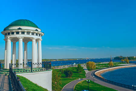 Famous gazebo on the embankment of the Volga river in Yaroslavl Stock Photo
